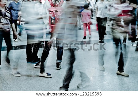 city business people crowd abstract blur motion,  passenger walk at subway station - stock photo
