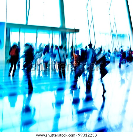 city business people crowd  indoor abstract background - stock photo