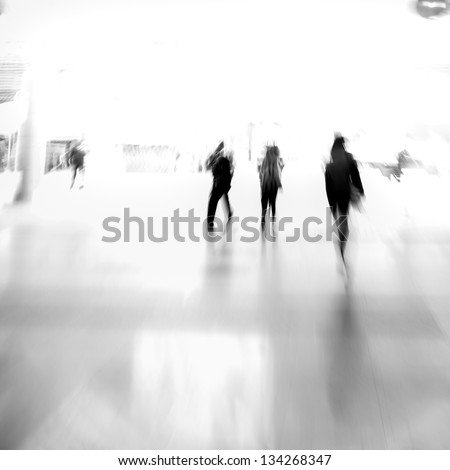 city business people urban scene abstract background, blur motion, black and white - stock photo