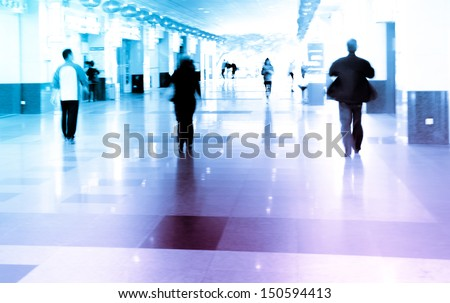 city business people walking on mall, urban scene blur abstract background - stock photo