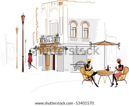 City cafe - stock photo