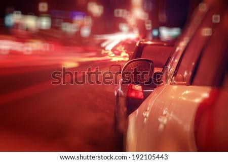 city �¢??�¢??car traffic jams night lights - stock photo