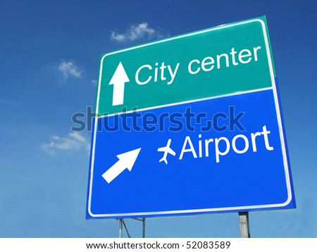 CITY CENTER-AIRPORT road sign - stock photo