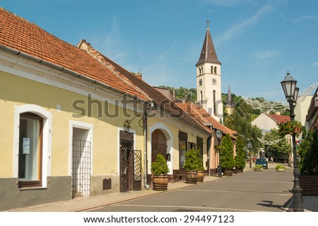 City center of Tokaj town, famous wine growing region - stock photo