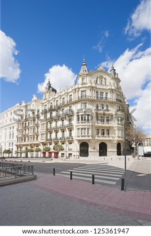 City center. Old buildings and architecture in the city center of Madrid, Spain. - stock photo