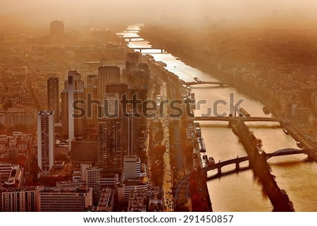 City center with office buildings in twilight - stock photo