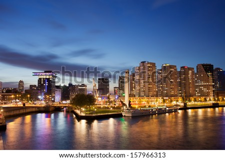 City centre of Rotterdam at night in Netherlands, South Holland province. - stock photo