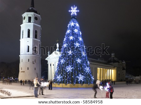 City Christmas Tree, Vilnius, Lithuania - stock photo
