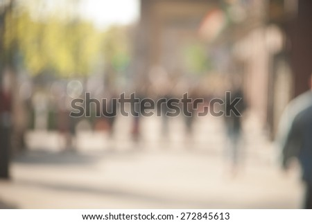 City commuters at sunset. Blurred background image for business, modile apps, and other uses. - stock photo