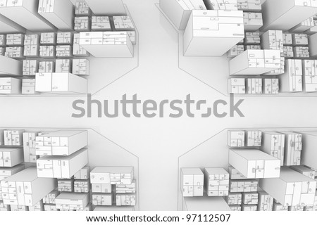 City crossroad top view - stock photo