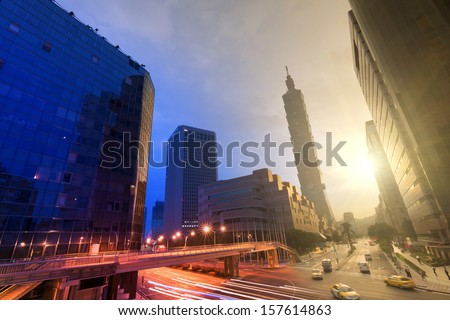 City day and night, urban scenery with modern skyscrapers in Taipei, Taiwan, Asia. - stock photo