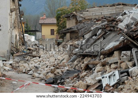City destroyed by an earthquake - stock photo