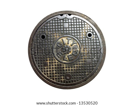 city electric manhole cover - stock photo