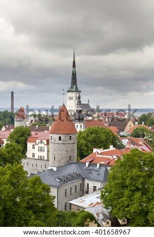 City from an observation deck. Tallinn. Estonia. - stock photo