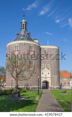 City gate Drommedaris in the historical center of Enkhuizen, Netherlands - stock photo