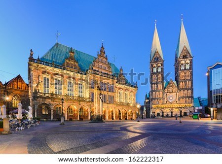 City Hall and the Cathedral of Bremen, Germany at night - stock photo