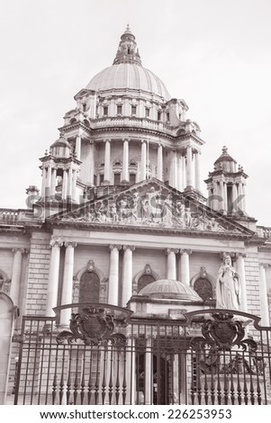 City Hall, Belfast (1906), Northern Ireland in Black and White Sepia Tone - stock photo