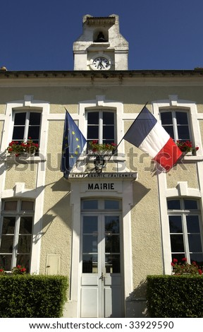city hall of a small village in France - stock photo