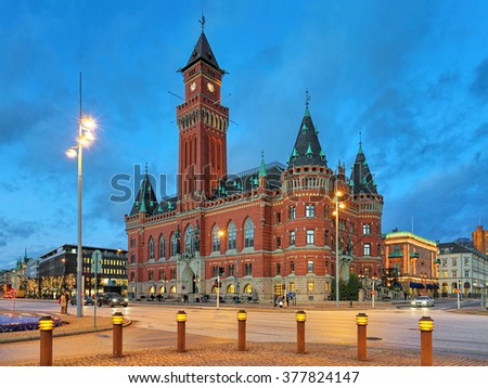 City Hall of Helsingborg in the evening, Sweden - stock photo