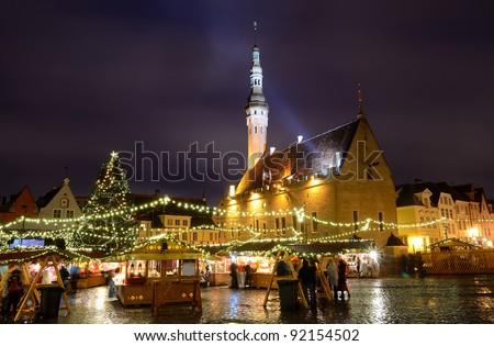 City hall square in Tallinn in Christmas, Estonia - stock photo
