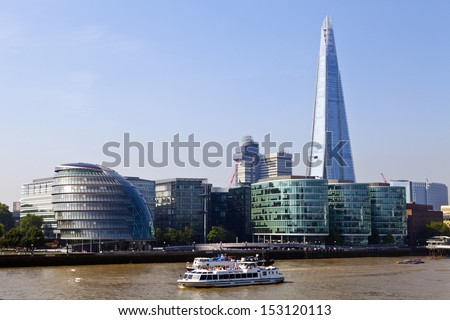 City Hall, The Shard and the River Thames in London. - stock photo