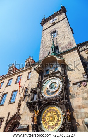 City Hall Tower with the famous astronomical clock in Prague, Czechia - stock photo