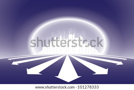 City high rise silhouette illustration glowing in white and emerging rays - stock photo