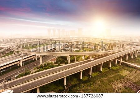 city highway overpass - stock photo
