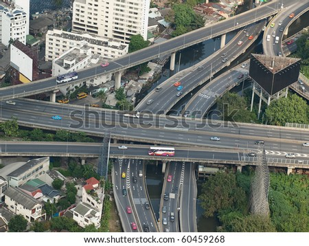 City highways,high angle view image, useful for urban living,traffic, stress or pollution related themes, Bangkok,Thailand, SE Asia - stock photo