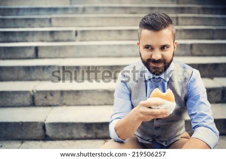 City hipster businessman - stock photo