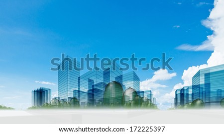 City in clouds. Abstract 3d collage - stock photo