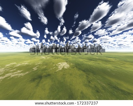 City in grassland - stock photo