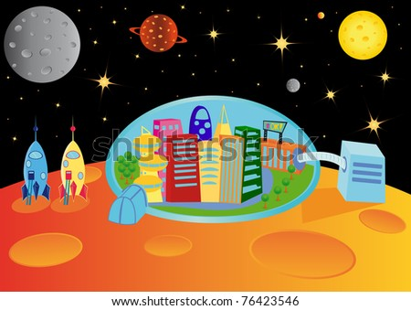 City in the universe, raster illustration - stock photo