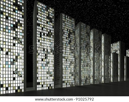 City in twilight: Abstract skyscrapers at night - stock photo