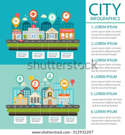 City infographics background and design elements with pins, town, buildings, road, shop, restaurant, post, church, school, transport, illustration  - stock photo