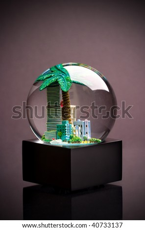 City inside a snow globe - stock photo