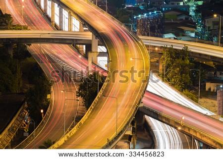 City interchange overpass highway at night, close up - stock photo