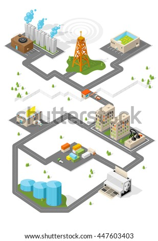 City. Isometric buildings.  - stock photo