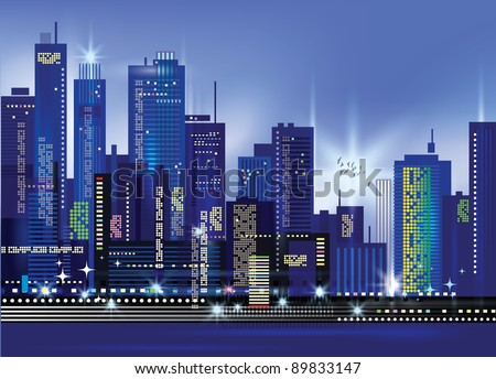 City Landscape At Night - stock photo