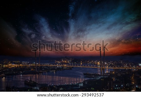 City landscape at night with sky with stars and nebula. - stock photo