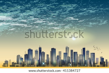City landscape at sunset. Raster version - stock photo