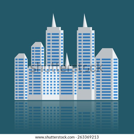 city landscape mock up buildings with reflect. - stock photo