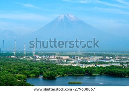 City landscape of Petropavlovsk-Kamchatsky and Koryaksky volcano, Russia  - stock photo