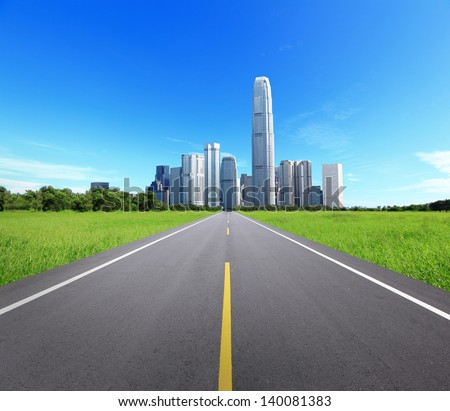 City Landscape with Trees and Road, concept for business and eco, great for your background - stock photo