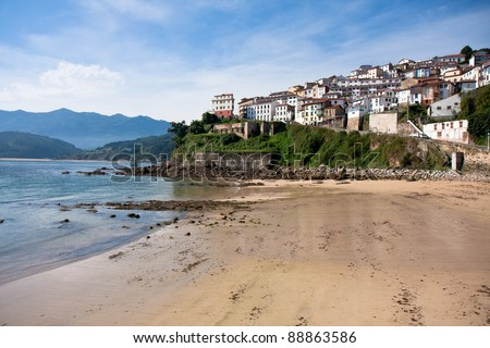City Lastres in Colunga municipality on the Bay of Biscay in Asturias, Spain - stock photo