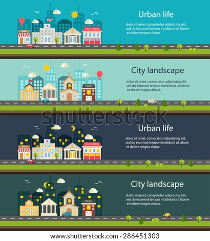 City life and urban landscape banners at day and at night.  - stock photo