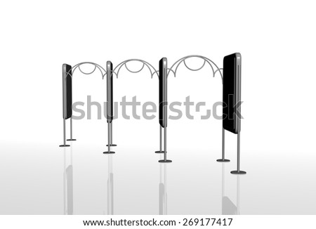 City light billboard decorative fence, elements for advertising - stock photo