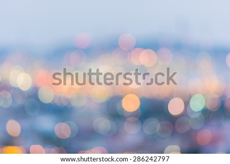city lights abstract bokeh on blue background - stock photo