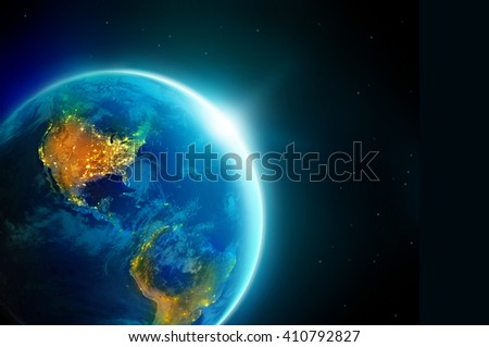 City lights america  at night in planet earth with sun rising, Elements of this image furnished by NASA - stock photo