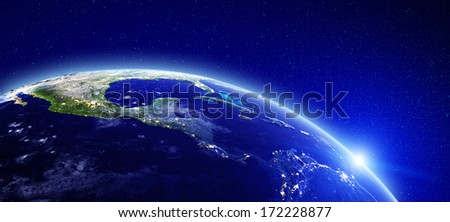 City lights - Central America. Elements of this image furnished by NASA - stock photo